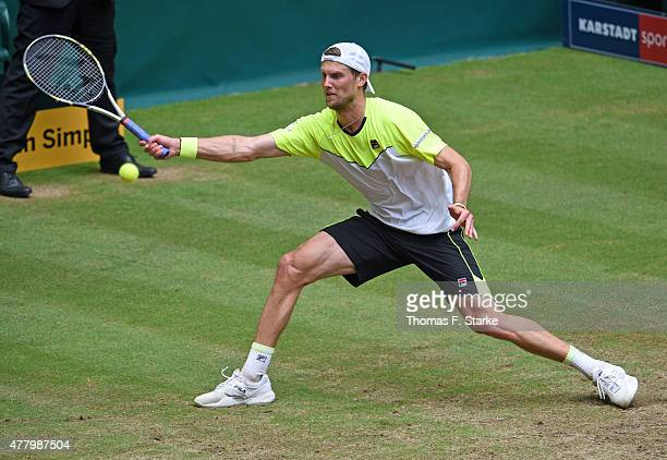 Andreas Seppi of Italy plays a forehand in the final match against Roger Federer of Switzerland during the final day of the Gerry Weber Open at Gerry...