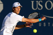 Andreas Seppi of Italy plays Nick Kyrgios of Australia during their men's single second round match on Day Four of the 2014 US Open at the USTA...