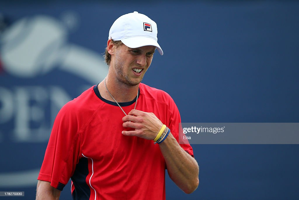 Andreas Seppi of Italy reacts during his men's singles first round match against Xavier Malisse of Belgium on Day Three of the 2013 US Open at USTA Billie Jean King National Tennis Center on August 28, 2013 in the Flushing neighborhood of the Queens borough of New York City.