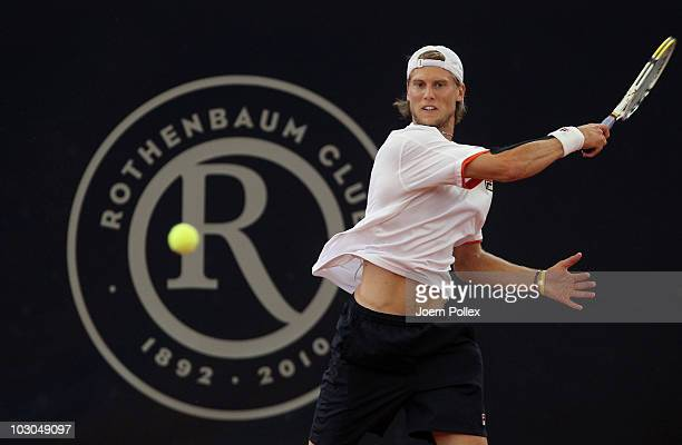 Andreas Seppi of Italy returns a forehand during his Quarter Final match against Thomaz Bellucci of Brasil during the International German Open at...