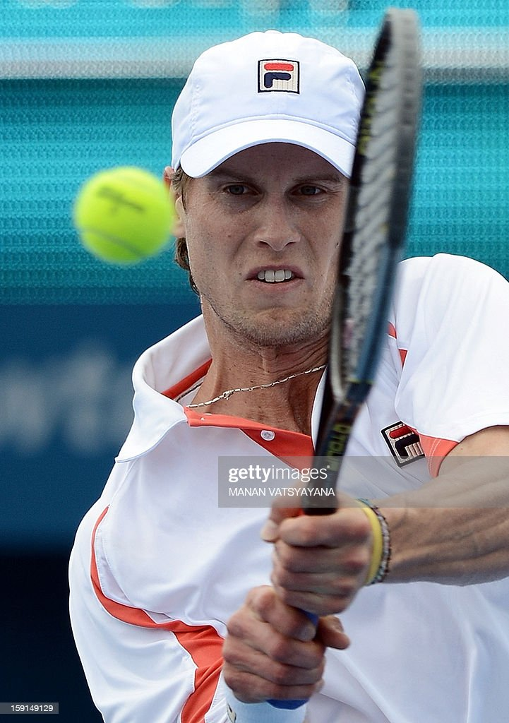 Andreas Seppi of Italy returns a shot against John Millman of Australia during their match at the Sydney International tennis tournament on January 9, 2013.
