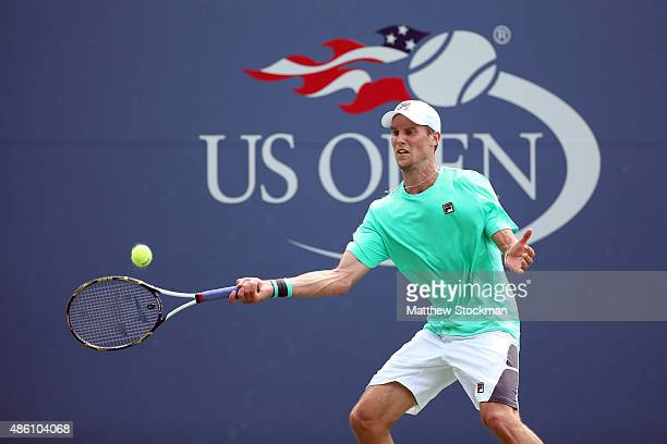 Andreas Seppi of Italy returns a shot against Tommy Paul of the United States on Day One of the 2015 US Open at the USTA Billie Jean King National...