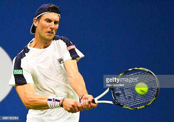 Andreas Seppi of Italy returns a shot to Rafael Nadal of Spain during his second round Men's Singles match on Day Three of the 2016 US Open at the...