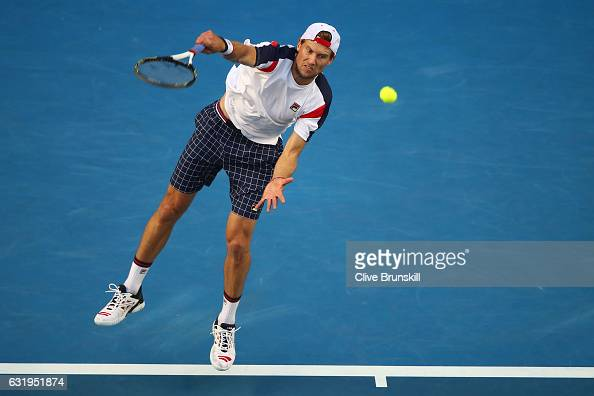 Andreas Seppi of Italy serves in his second round match against Nick Kyrgios of Australia on day three of the 2017 Australian Open at Melbourne Park...