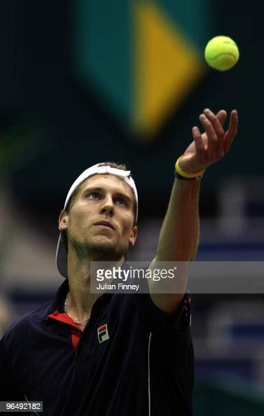 Andreas Seppi of Italy serves to Stephane Bohli of Switzerland during day one of the ABN AMBRO World Tennis Tournament on February 8 2010 in...