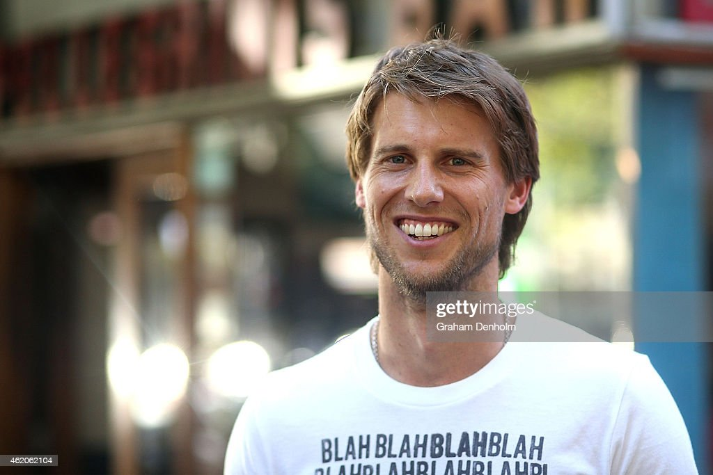 Andreas Seppi of Italy smiles as he visits Italian cafe Pellegrini's during the 2015 Australian Open at Melbourne Park on January 24, 2015 in Melbourne, Australia.