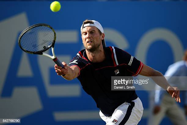 Andreas Seppi of Italy stretches for a forehand during his men's singles semifinals match against Steve Johnson of USA during day five of the ATP...