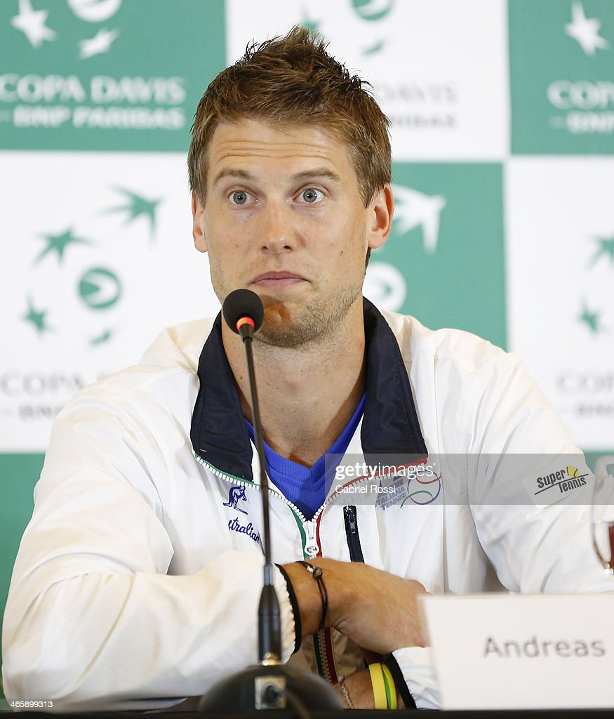 Andreas Seppi of Italy talks during a press conference as part of the Copa Davis Draw between Argentina and Italy at NH Hotel on January 30, 2014 in Buenos Aires, Argentina.
