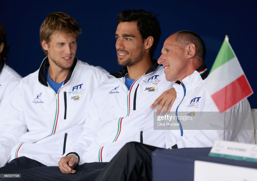 <a gi-track='captionPersonalityLinkClicked' href=/galleries/search?phrase=Andreas+Seppi&family=editorial&specificpeople=228727 ng-click='$event.stopPropagation()'>Andreas Seppi</a>,<a gi-track='captionPersonalityLinkClicked' href=/galleries/search?phrase=Fabio+Fognini&family=editorial&specificpeople=656601 ng-click='$event.stopPropagation()'>Fabio Fognini</a> and team captain Corrado Barazzutti of Italy in good spirits during the main draw ceremony prior to the Davis Cup World Group Quarter Final match between Italy and Great Britain at Tennis Club Napoli on April 3, 2014 in Naples, Italy.