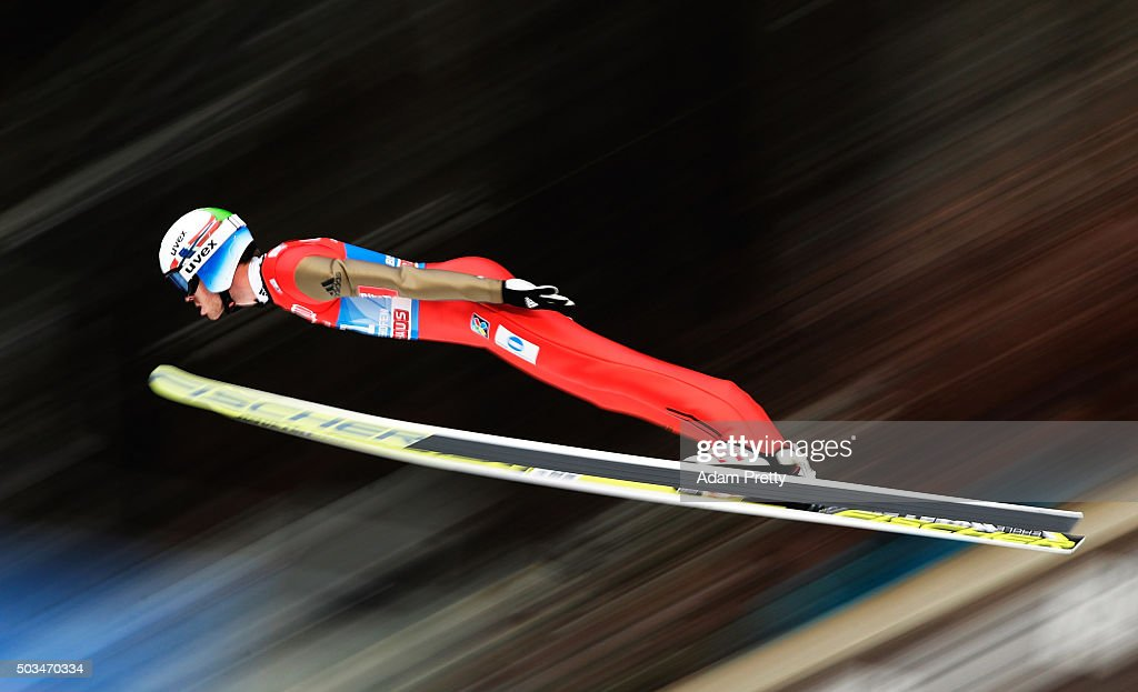<a gi-track='captionPersonalityLinkClicked' href=/galleries/search?phrase=Andreas+Stjernen&family=editorial&specificpeople=6693989 ng-click='$event.stopPropagation()'>Andreas Stjernen</a> of Norway soars through the air during his qualifying jump on day 1 of the Bischofshofen 64th Four Hills Tournament on January 5, 2016 in Bischofshofen, Austria.