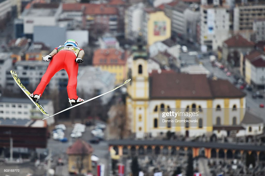 <a gi-track='captionPersonalityLinkClicked' href=/galleries/search?phrase=Andreas+Stjernen&family=editorial&specificpeople=6693989 ng-click='$event.stopPropagation()'>Andreas Stjernen</a> of Norway soars through the air during his training jump on day 1 of the 64th Four Hills Tournament ski jumping event on January 2, 2016 in Innsbruck, Austria.