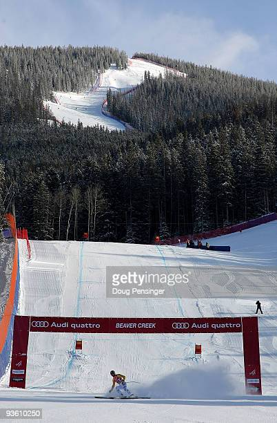 Andreas Strodl of Germany crosses the finish line after the weather cleared and training resumed after a weather delay for the Men's FIS Alpine World...