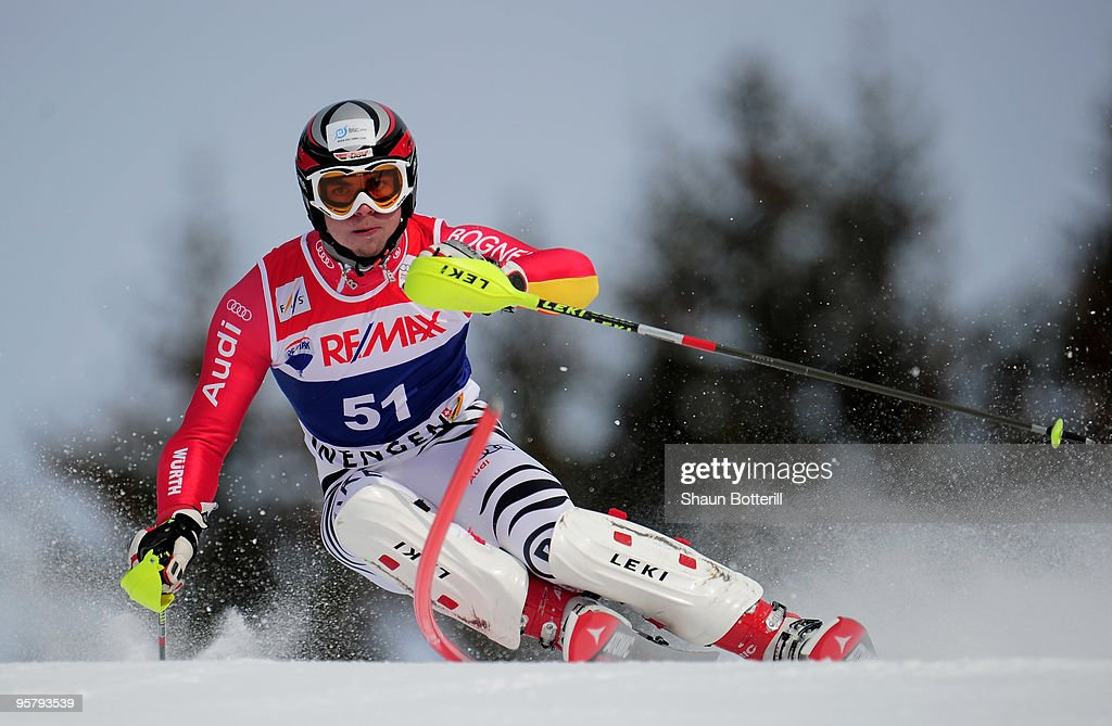 Andreas Strodl of Germany in action during the FIS Ski World Cup Men's Super Combined Slalom on January 15, 2010 in Wengen, Switzerland.