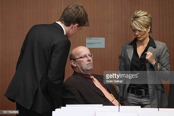 Andreas T a former employee of the Hessen State Office for the Protection of the Constitution waits to give testimony to the Bundestag investigation...