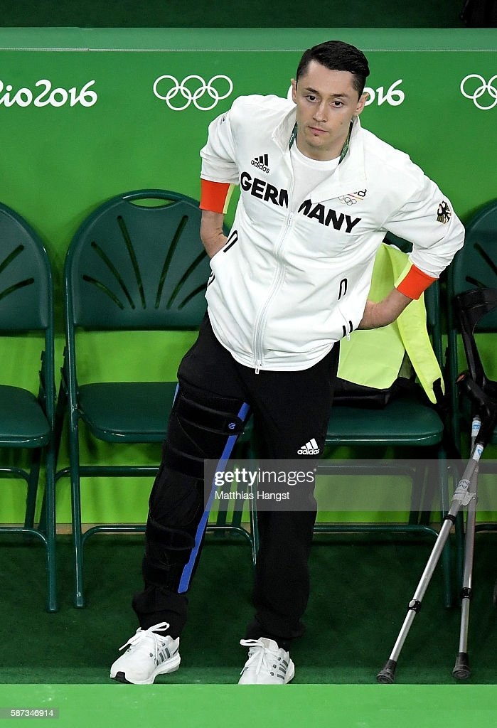 Andreas Toba of Germany, who injured during the qualification is seen prior to Men's Team final on Day 3 of the Rio 2016 Olympic Games at the Rio Olympic Arena on August 8, 2016 in Rio de Janeiro, Brazil.