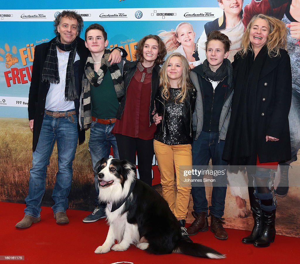 Andreas Ulmke-Smeaton, Quirin Oettl, Valeria Eisenbart, Neele Marie Nickel, Justus Schlingensiepen and Ewa Karlstroem and dog Coffey attend the 'Fuenf Freunde 2' movie premiere at CineMaxx Cinema on January 27, 2013 in Munich, Germany.