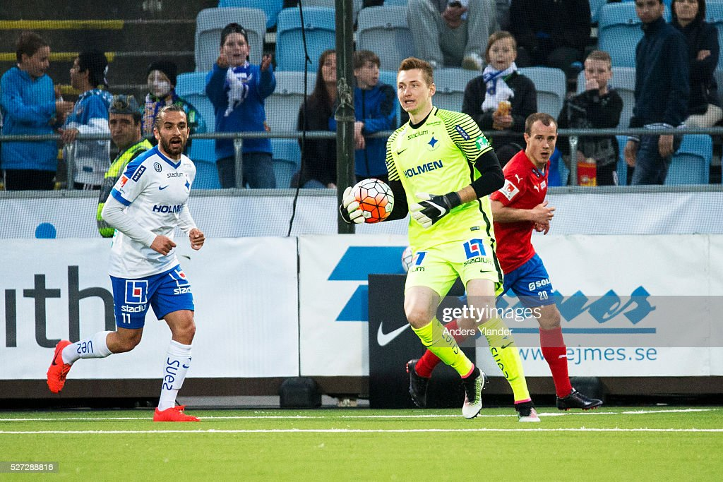 Andreas Vaikla, goalkeeper of IFK Norrkoping in action during the Allsvenskan match between IFK Norrkoping and Helsingborgs IF at Ostgotaporten on May 2, 2016 in Norrkoping, Sweden.