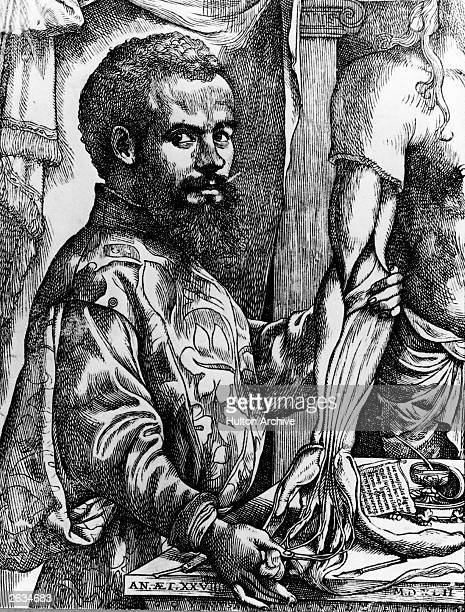Andreas Vesalius circa 1540 Flemish anatomist and doctor from a woodcut which appeared in the 'Fabrica' his book of anatomy which was published in...