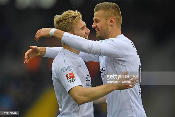 Andreas Voglsammer and Florian Hartherz of Bielefeld celebrate during the Second Bundesliga match between Eintracht Braunschweig and DSC Arminia...