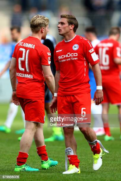 Andreas Voglsammer and Tom Schuetz of Bielefeld look dejected after the 11 draw of the Second Bundesliga match between VfL Bochum 1848 and DSC...