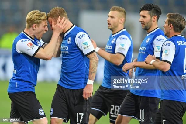 Andreas Voglsammer Christoph Hemlein Florian Hartherz Stephan Salger and Tom Schuetz of Bielefeld celebrate during the Second Bundesliga match...