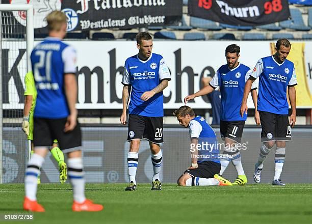 Andreas Voglsammer Manuel Junglas Tom Schuetz Stephan Salger and Manuel Prietl of Bielefeld look dejected during the Second Bundesliga match between...