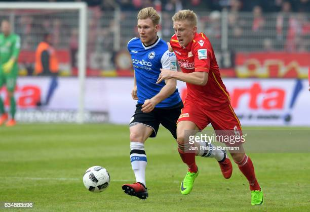 Andreas Voglsammer of Arminia Bielefeld and Kristian Pedersen of 1 FC Union Berlin during the game between dem 1 FC Union Berlin and DSC Arminia...
