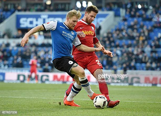 Andreas Voglsammer of Bielefeld and Timo Perthel of Bochum fight for the ball during the Second Bundesliga match between DSC Arminia Bielefeld and...