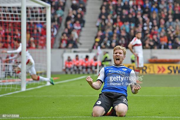 Andreas Voglsammer of Bielefeld celebrates his first goal during the Second Bundesliga match between VfB Stuttgart and DSC Arminia Bielefeld at...