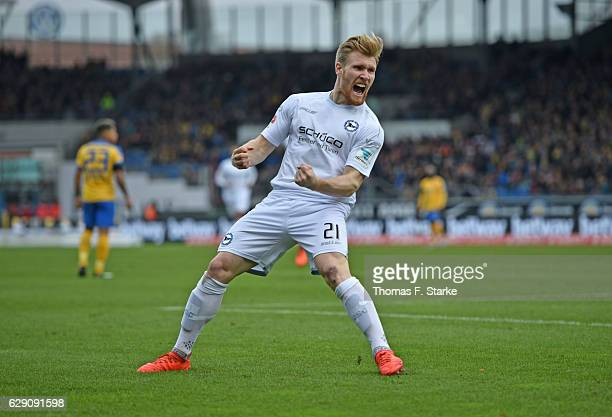 Andreas Voglsammer of Bielefeld celebrates his first goal during the Second Bundesliga match between Eintracht Braunschweig and DSC Arminia Bielefeld...