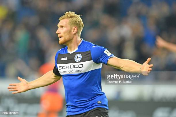 Andreas Voglsammer of Bielefeld celebrates his first goal during the Second Bundesliga match between DSC Arminia Bielefeld and VfL Bochum 1848 at...