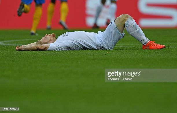 Andreas Voglsammer of Bielefeld looks dejected during the Second Bundesliga match between Eintracht Braunschweig and DSC Arminia Bielefeld at...