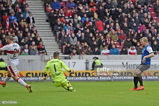 Andreas Voglsammer of Bielefeld scores against Mitchell Langerak of Stuttgart during the Second Bundesliga match between VfB Stuttgart and DSC...