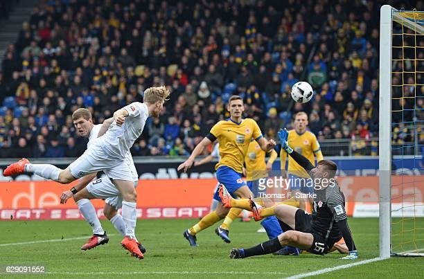 Andreas Voglsammer of Bielefeld scores his first goal during the Second Bundesliga match between Eintracht Braunschweig and DSC Arminia Bielefeld at...