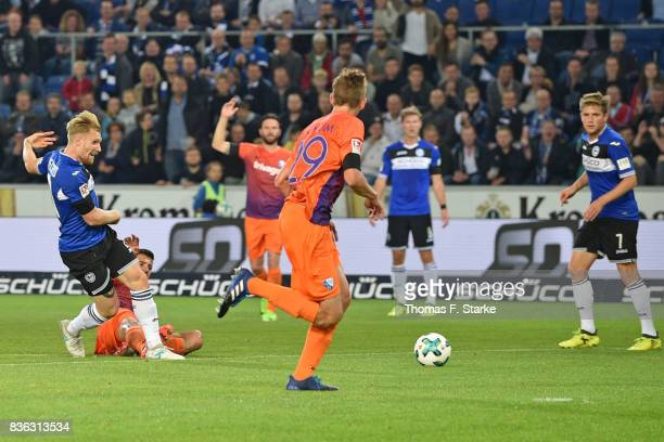 Andreas Voglsammer of Bielefeld scores his teams first goal during the Second Bundesliga match between DSC Arminia Bielefeld and VfL Bochum 1848 at...
