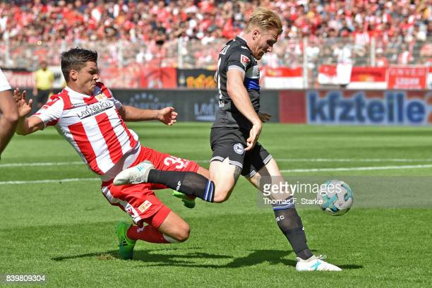 Andreas Voglsammer of Bielefeld scores his teams first goal during the Second Bundesliga match between 1 FC Union Berlin and DSC Arminia Bielefeld at...