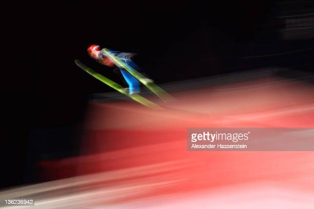 Andreas Wank of Germany competes at the qualification round for the FIS Ski Jumping World Cup event of the 60th Four Hills ski jumping tournament at...