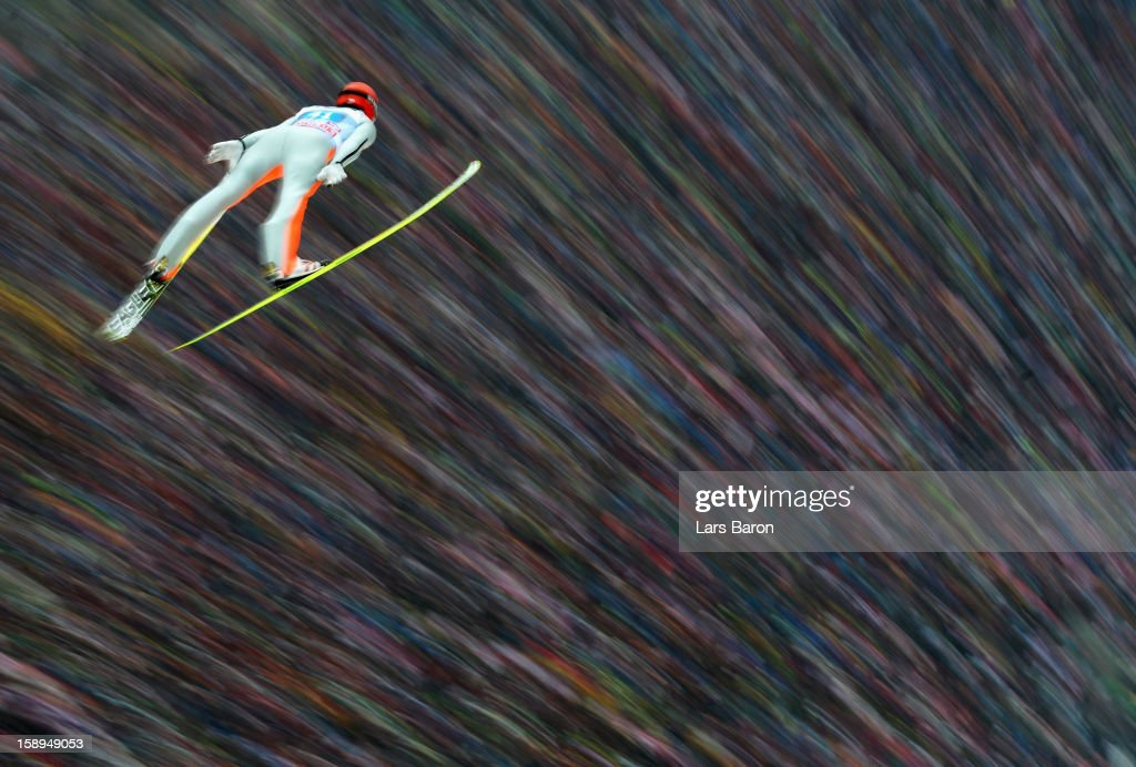 Andreas Wank of Germany competes during the first round for the FIS Ski Jumping World Cup event of the 61st Four Hills ski jumping tournament at Bergisel-Stadion on January 4, 2013 in Innsbruck, Austria.