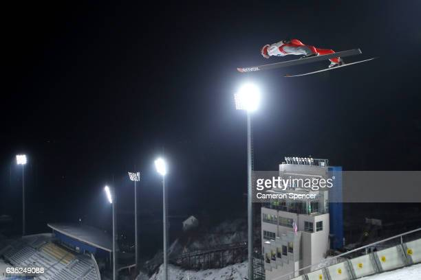 Andreas Wank of Germany jumps during trainining for the 2017 FIS Ski Jumping World Cup test event For PyeongChang 2018 at Alpensia Ski Jumping Center...
