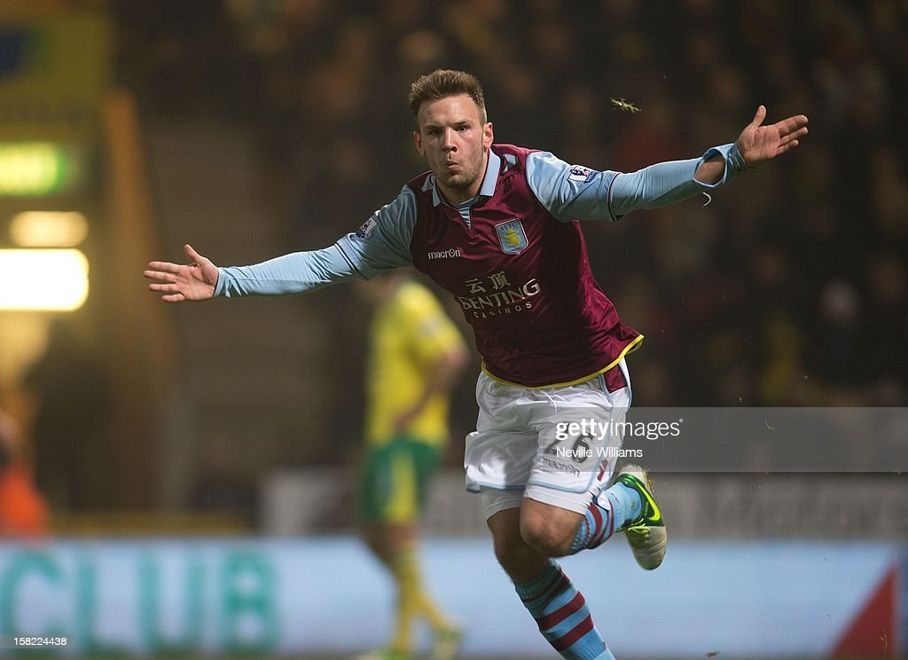 Andreas Weiman of Aston Villa celebrates his first goal during the Capital One Cup Quarter Final match between Norwich City and Aston Villa at Carrow Road on December 11, 2012 in Norwich, England.