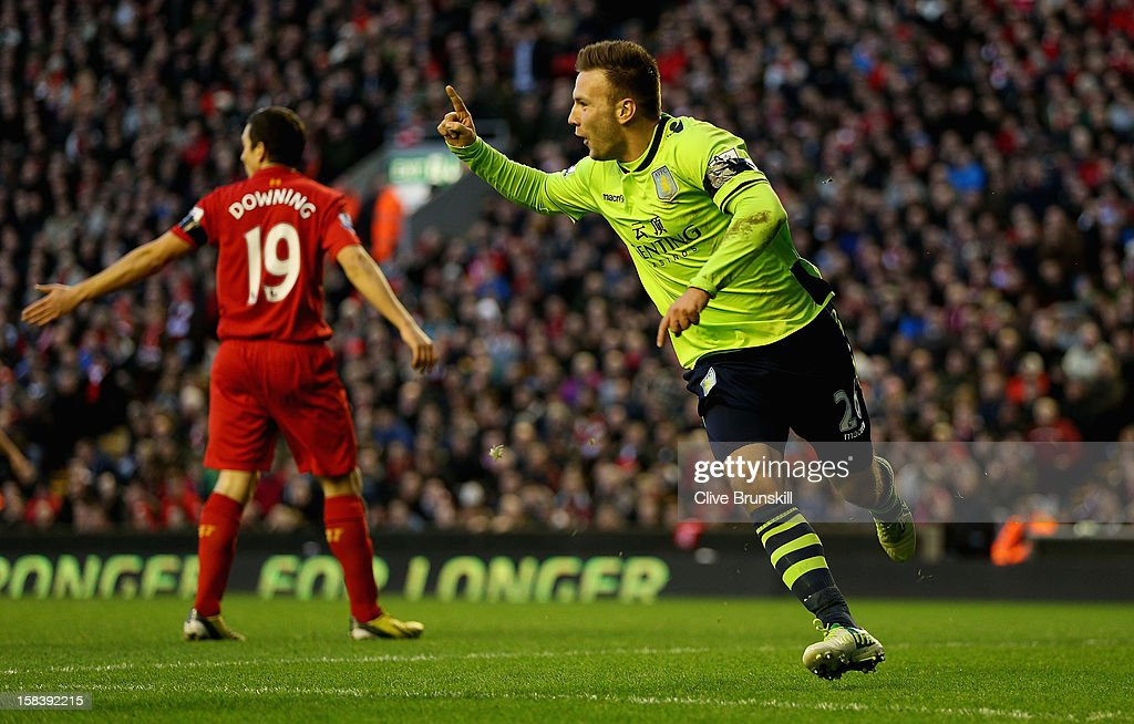 Andreas Weimann of Aston Villa celebrates after scoring the second goal during the Barclays Premier League match between Liverpool and Aston Villa at Anfield on December 15, 2012 in Liverpool, England.