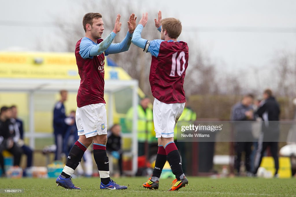 Andreas Weimann of Aston Villa celebrates his first goal for Aston Villa during the Barclays Premier Reserve League match between Aston Villa Reserves and West Bromwich Albion Reserves at the club's training ground at Bodymoor Heath on February 21, 2012 in Birmingham, England.