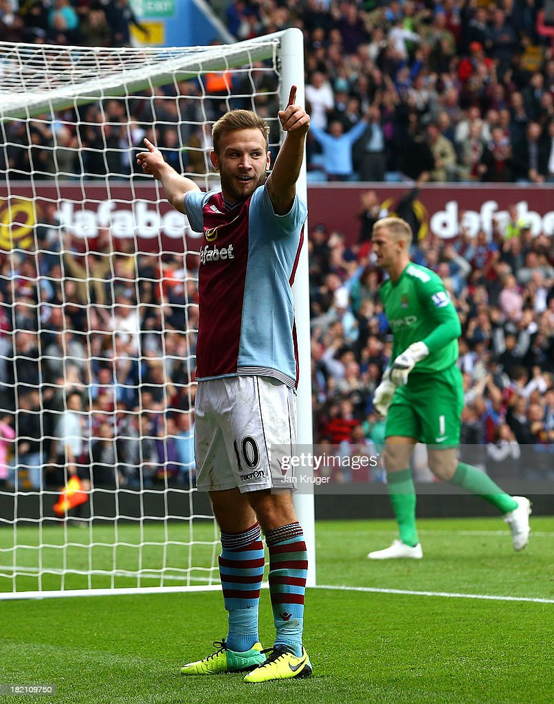 Andreas Weimann of Aston Villa celebrates his goal during the Barclays Premier League match between Aston Villa and Manchester City at Villa Park on September 28, 2013 in Birmingham, England.