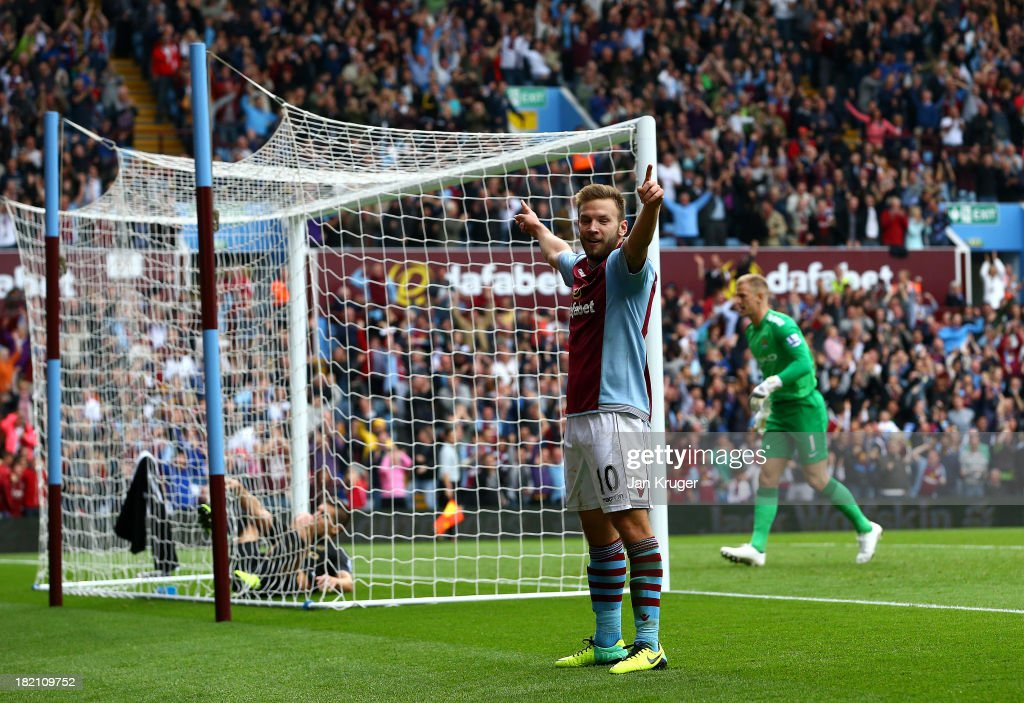 <a gi-track='captionPersonalityLinkClicked' href=/galleries/search?phrase=Andreas+Weimann&family=editorial&specificpeople=5891558 ng-click='$event.stopPropagation()'>Andreas Weimann</a> of Aston Villa celebrates his goal during the Barclays Premier League match between Aston Villa and Manchester City at Villa Park on September 28, 2013 in Birmingham, England.