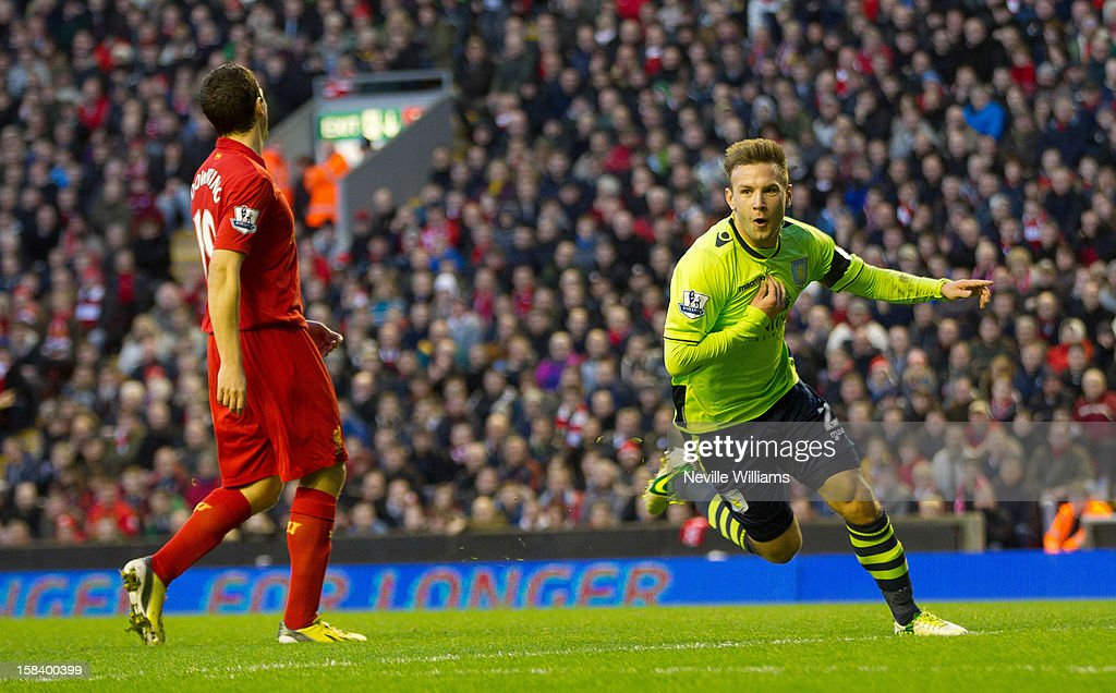 <a gi-track='captionPersonalityLinkClicked' href=/galleries/search?phrase=Andreas+Weimann&family=editorial&specificpeople=5891558 ng-click='$event.stopPropagation()'>Andreas Weimann</a> of Aston Villa celebrates his goal for Aston Villa during the Barclays Premier League match between Liverpool and Aston Villa at Anfield on December 15, 2012 in Liverpool, England.