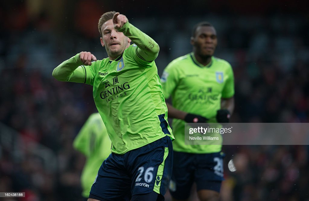 Andreas Weimann of Aston Villa celebrates his goal for Aston Villa during the Barclays Premier League match between Arsenal and Aston Villa at Emirates Stadium on February 23, 2013 in London, England.
