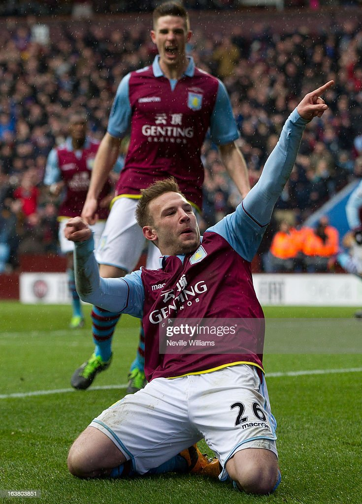 <a gi-track='captionPersonalityLinkClicked' href=/galleries/search?phrase=Andreas+Weimann&family=editorial&specificpeople=5891558 ng-click='$event.stopPropagation()'>Andreas Weimann</a> of Aston Villa celebrates his goal for Aston Villa during the Barclays Premier League match between Aston Villa and Queens Park Rangers at Villa Park on March 16, 2013 in Birmingham, England.