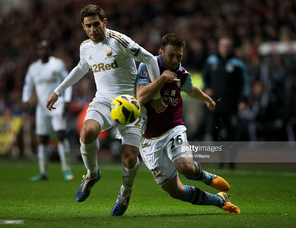 <a gi-track='captionPersonalityLinkClicked' href=/galleries/search?phrase=Andreas+Weimann&family=editorial&specificpeople=5891558 ng-click='$event.stopPropagation()'>Andreas Weimann</a> of Aston Villa challenges Angel Rangel of Swansea during the Barclays Premier League match between Swansea City and Aston Villa at Liberty Stadium on January 01, 2013 in Swansea, Wales.