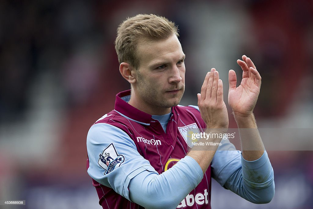 Andreas Weimann of Aston Villa during the Barclays Premier League match between Stoke City and Aston Villa at the Britannia Stadium on August 16, 2014 in Stoke on Trent, England.