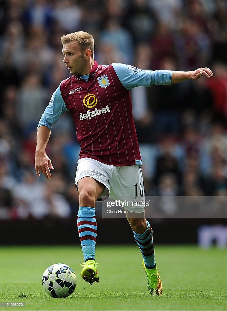 <a gi-track='captionPersonalityLinkClicked' href=/galleries/search?phrase=Andreas+Weimann&family=editorial&specificpeople=5891558 ng-click='$event.stopPropagation()'>Andreas Weimann</a> of Aston Villa in action during the Barclays Premier League match between Aston Villa and Newcastle United at Villa Park on August 23, 2014 in Birmingham, England.